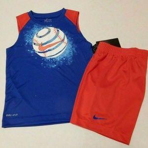 NWT Boys 2pc Nike Dri Fit Baseball Shirt & Shorts